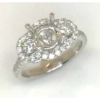 14kt White Gold Triple Halo Diamond semi-mount