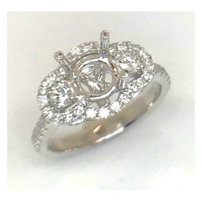 14kt White Gold Triple Halo Diamond semi-mount