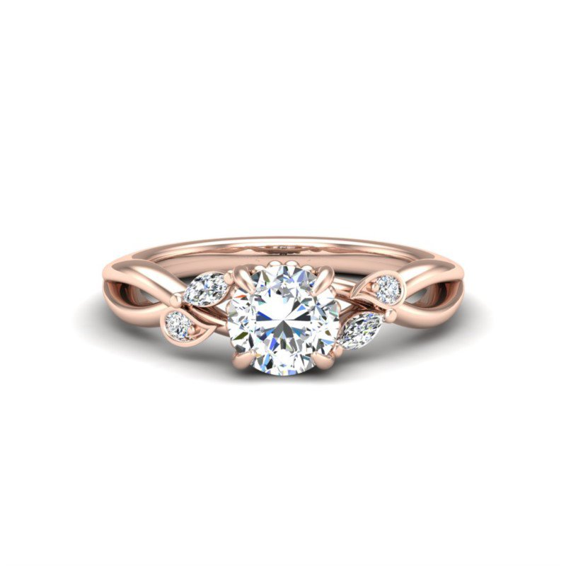 14 Karat Marquise and Round Accented Ring Mounting