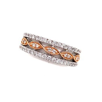 14 Karat White and Rose Gold Diamond Band
