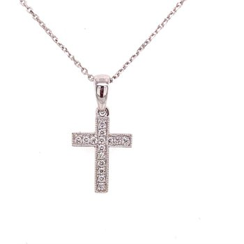 Small White Gold Cross with Diamonds