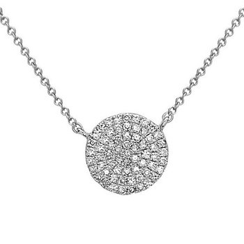 14 Karat Pave set Diamond Disc Pendant With Diamonds