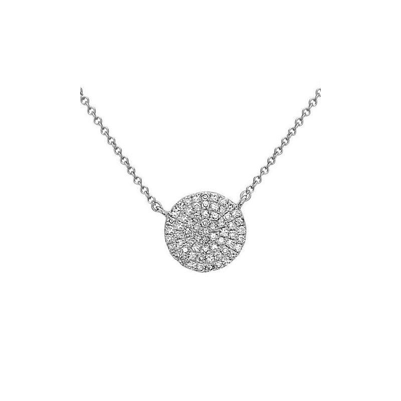 14 Karat Pave set Diamond Disc Pendant With Diamonds