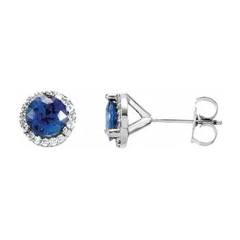 Ceylon Blue Sapphire and Diamond Halo Stud Earrings