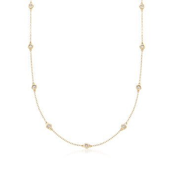 14 Karat Yellow Gold 12 Station 'Diamonds by the Yard' Necklace