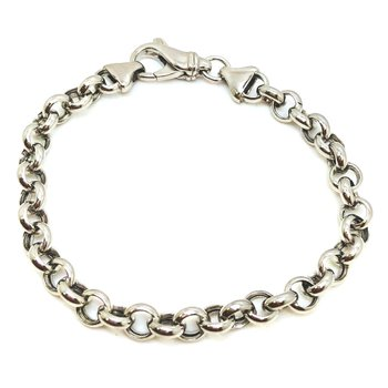 White Silver Circle Links Bracelet Length 7.75