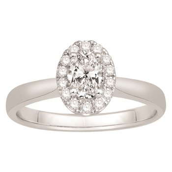 Desirablet Oval Shaped Diamond set with a Halo of Round Diamonds