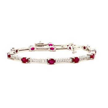 Ruby and Round Diamond Bracelet of Hot Desire