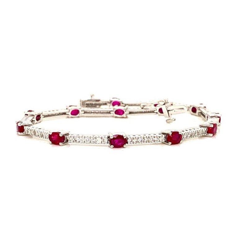 Ruby and Round Diamond Bracelet of Hot Desire