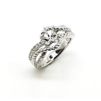 14 Karat Petite Cufving Diamond Mounting and Band