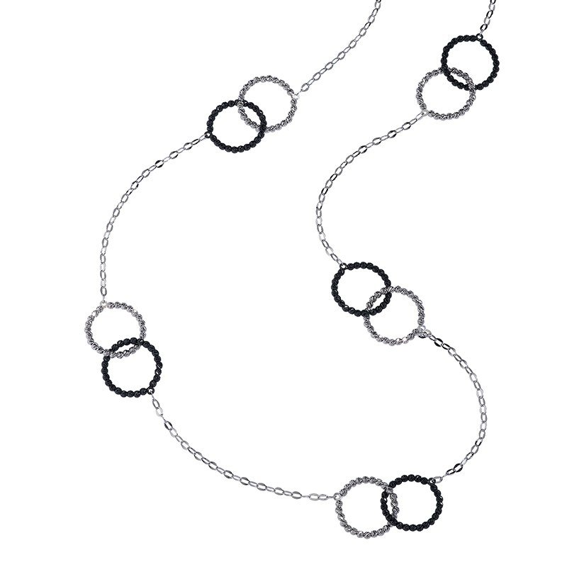 Platinum Finished Sterling Silver 5 Double Ring Sections Chain