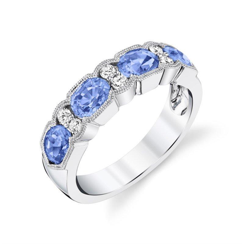 Pastel Blue Sapphire and Diamond Band
