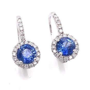 White Gold Sapphire Drop Earrings with Diamond Halo