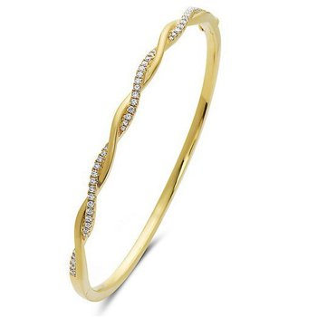 14 Karat Twist Bangle Bracelet With 46 Diamonds