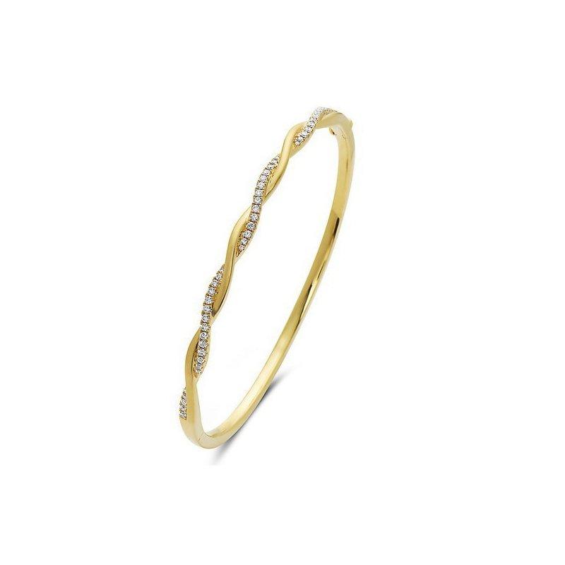 14 Karat Twist Bangle Bracelet With 46 Diamonds