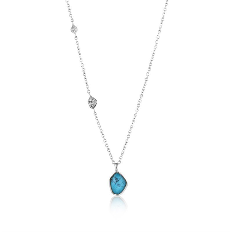 White Sterling Silver Polished Mineral Glow Pendant