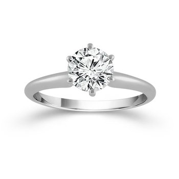 14 Karat Solitaire Ring With One 1.40Ct Round E Si2 Diamond