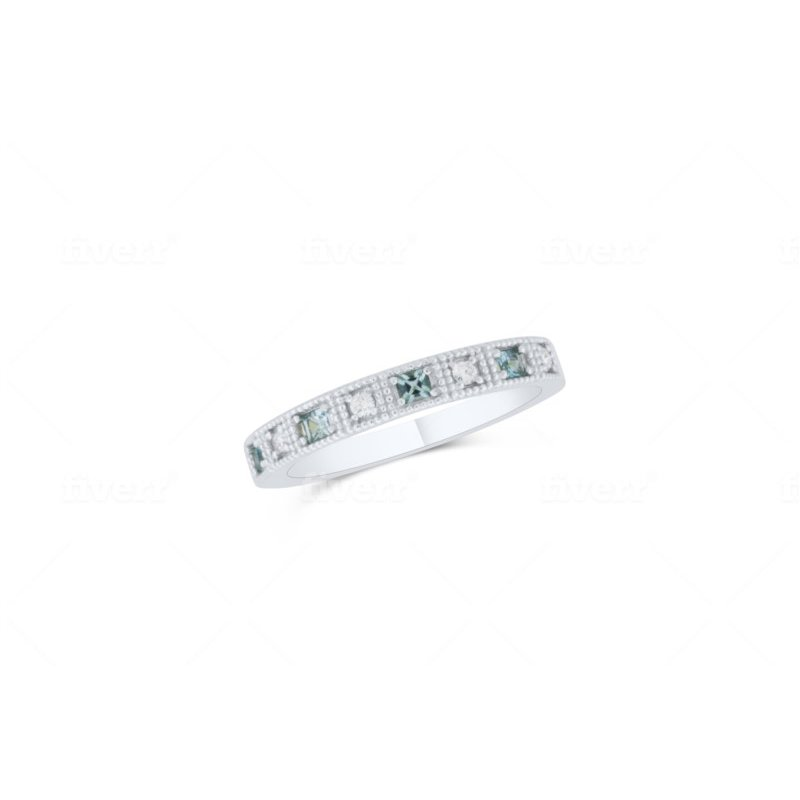 10 Karat White Gold Blue Topaz and Diamond Ring