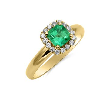 Yellow Gold White Diamond and Emerald Ring