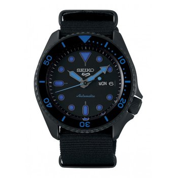 Black and Blue Stainless Steel Automatic Watch