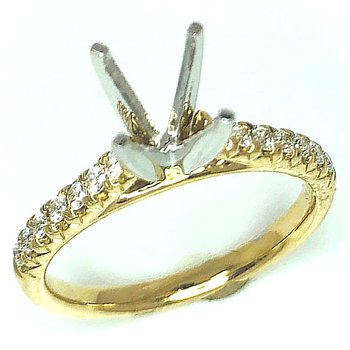 14 kt Yellow Gold Diamond Cathedral Engagement Mounting