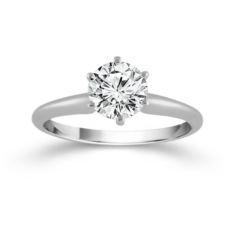 14 Karat White Gold 2  Carat Diamond Solitaire Ring