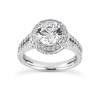 White 14 Karat Ring With 102 Round Diamonds=0.63Tw  G/H Si