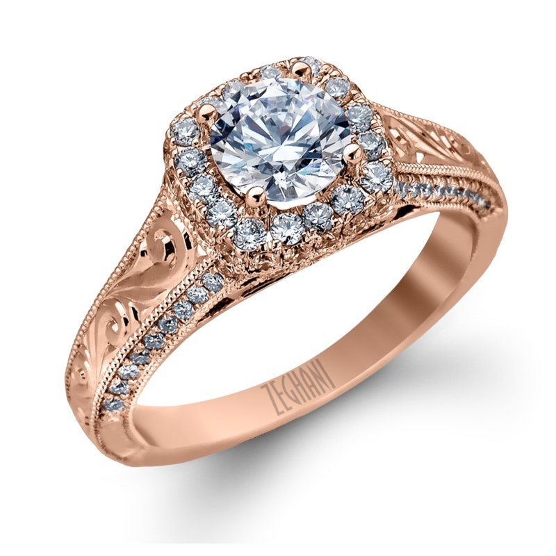 Carved Rose Gold Ring with Halo and Side Diamonds