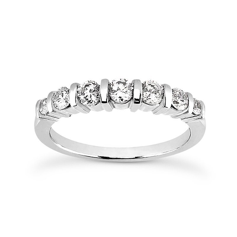 wedding band with opposed bar setting