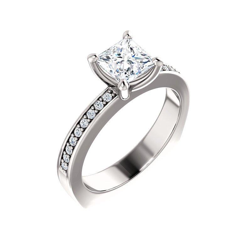 White 14 Karat Ring With Diamond Set Shoulders