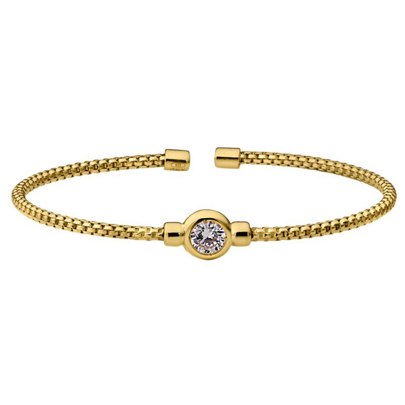 Bezel Set Yellow Gold over Sterling Silver Flex Bracelet