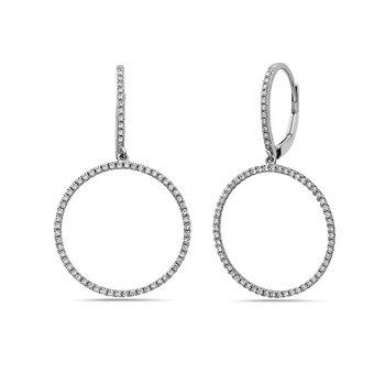 White 14 Karat Drop Earrings With 140=0.42Tw Round Diamonds