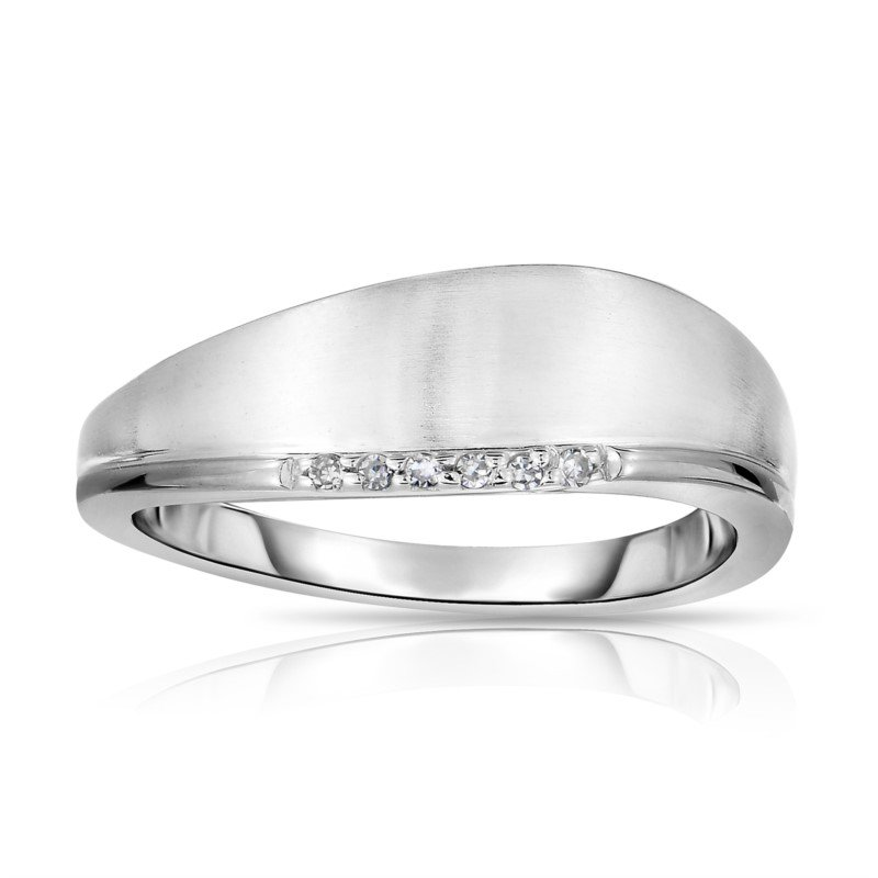 White Sterling Silver Satin Ring