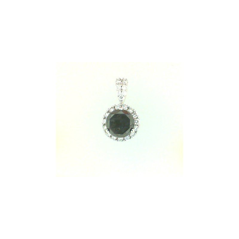 14kt White Gold Pendant with Black and White Diamonds