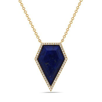 Stylish Kite Shaped Lapis and Diamond Pendant in 14 kt Gold