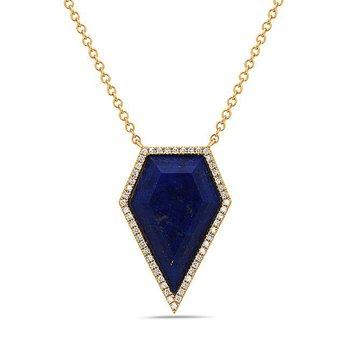 Stylish Kite Shaped Lapis and Diamond Pendant in 14 kt Gold