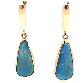 14 kt Yellow Gold Natural Australian Opal Earrings