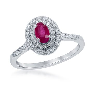 14 Karat White Gold Double Diamond Halo Ring Set With An Oval Ruby