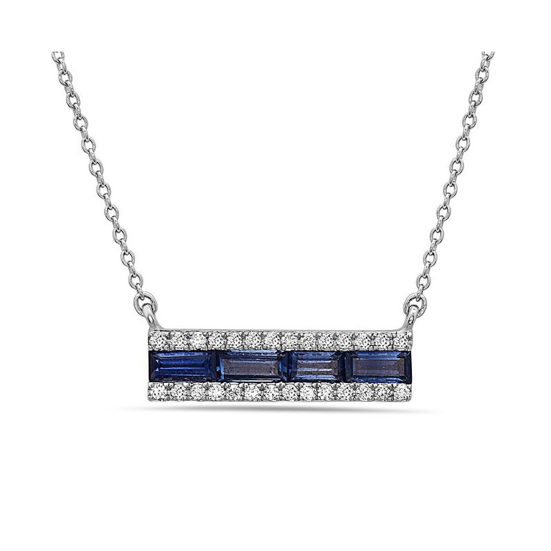 Straight Bar of Baguette Sapphires and Diamonds in 14 kt Gold