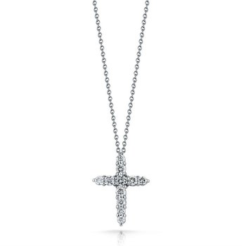 "Petite Common Prong Diamond Cross and 18"" Chain"