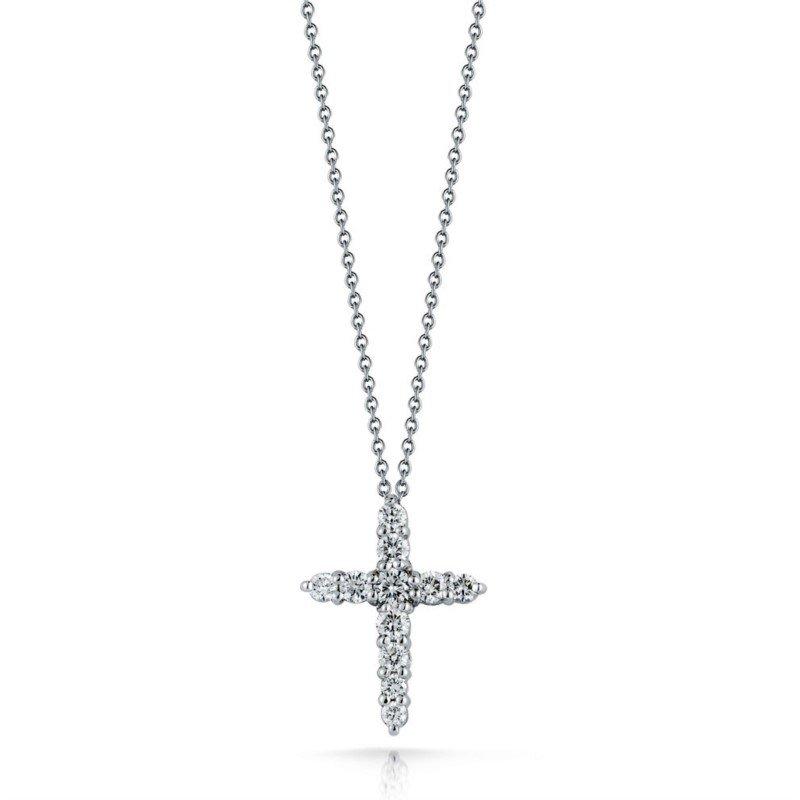 "Petite Common Prong Diamond Cross and 18"" Chain"