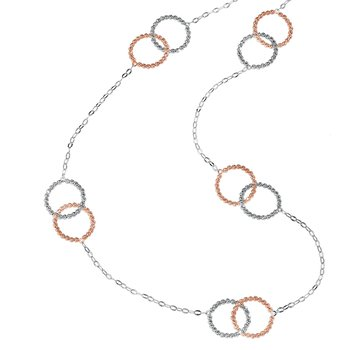 White and Rose Interlocking Rings Necklace