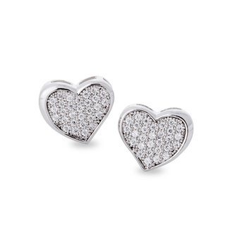 Sterling Silver Micropave Heart Studs Earrings