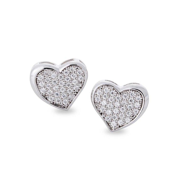 Sterling Silver Micropave Heart Studs Earrings