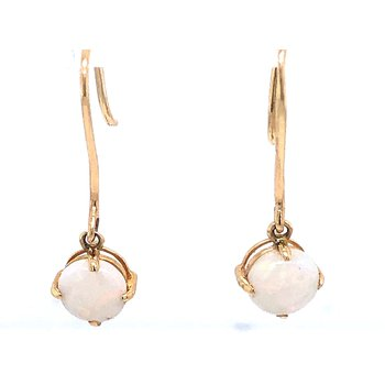 Yellow Gold Opal Drop Earrings