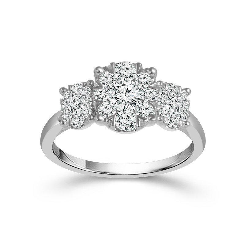 14 Karat White Gold Three Stone Ring