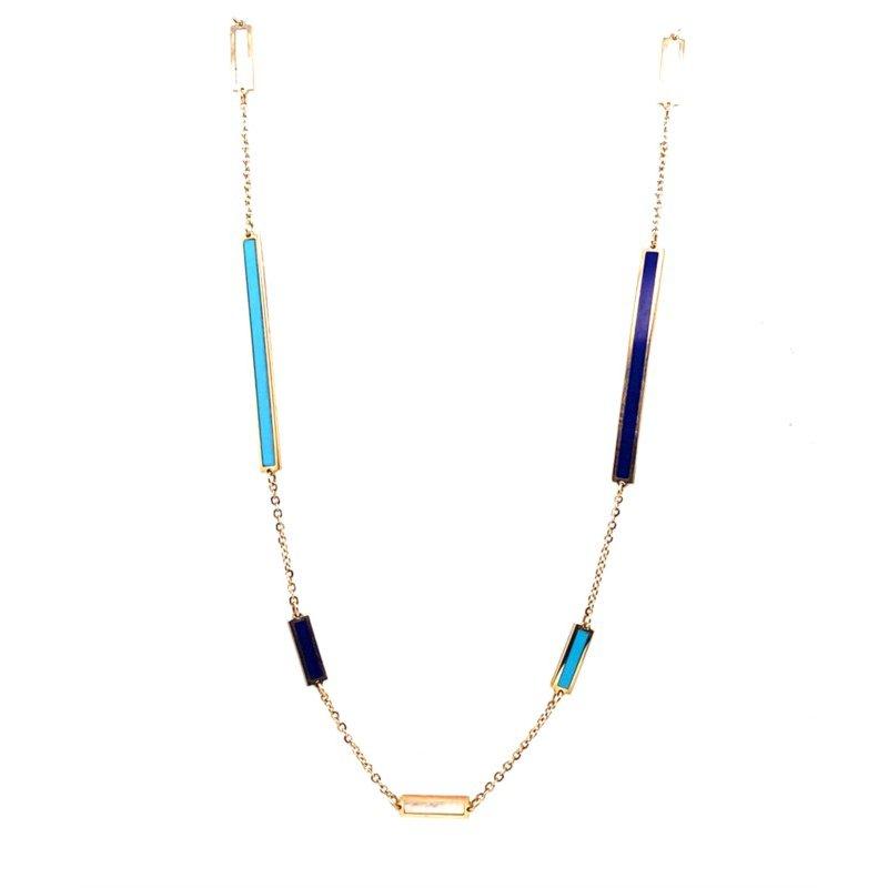 Yellow 14 Karat Bar Stations Pendant Gem: Turquoise,Lapis, Mother of Pearl