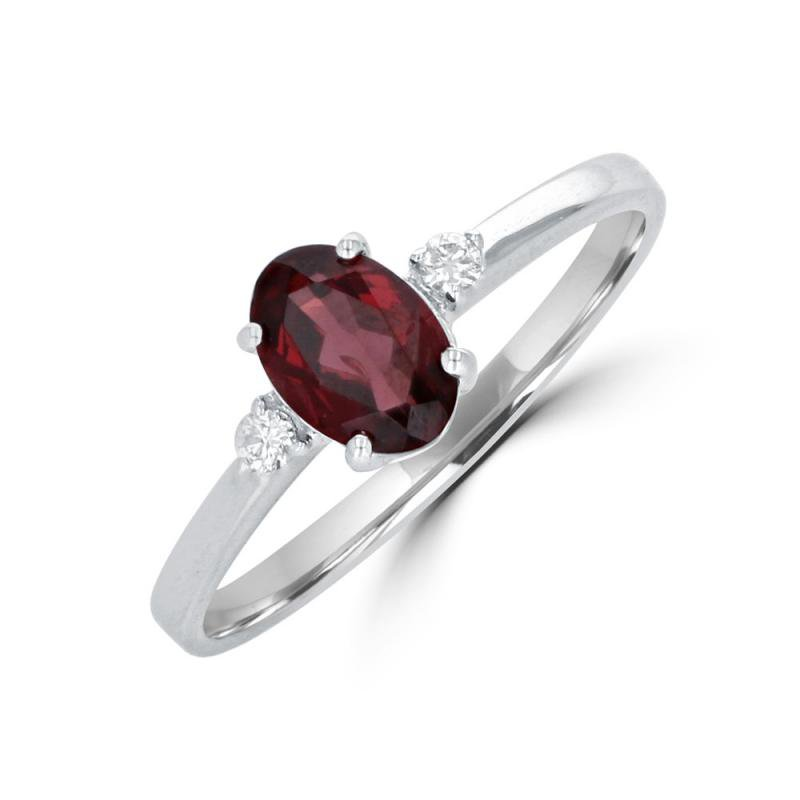 Petite White Gold Garnet and Diamond Ring