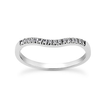 14 Karat White Gold Diamond Curved Band