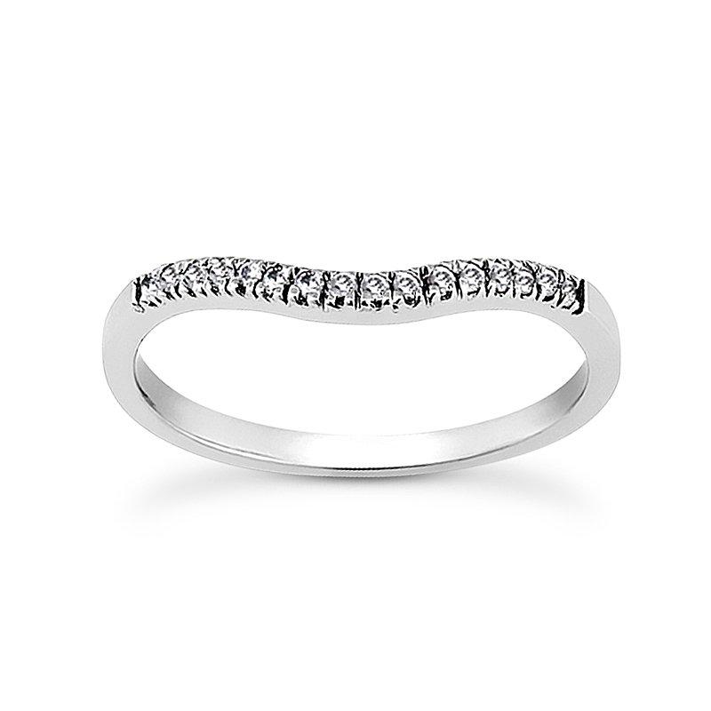 14 Karat White Gold Diamond Curved Band